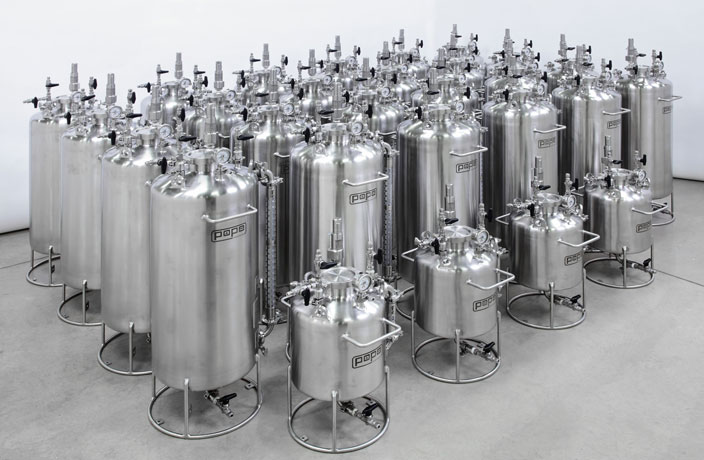 assortment of stainless steel pressure vessels